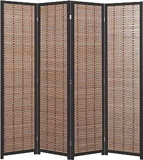 MyGift Decorative Openwork Design 4-Panel Bamboo & Black Wood Framed Folding Screen/Freestanding Room Divider
