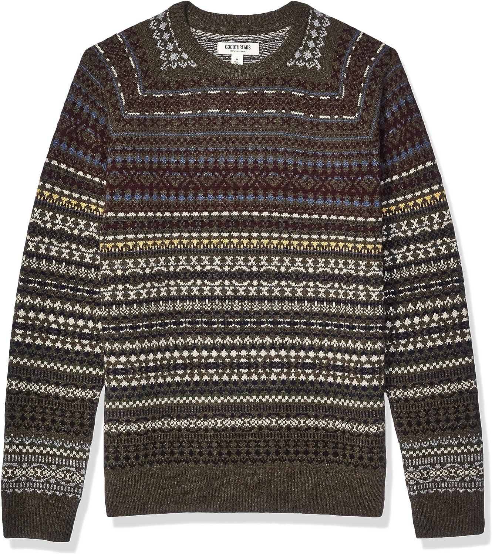 1920s Men's Sweaters, Cardigans, Knitwear Amazon Brand - Goodthreads Mens Lambswool Crewneck Sweater  AT vintagedancer.com