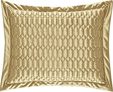 Five Queens Court Saranda Satin Geometric Quilted Pillow Sham King, Gold
