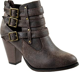57860eeb2d3 Forever Shoes Women s Camila-62 Brown Short Ankle Riding Boots with Chunky  Heel and Three