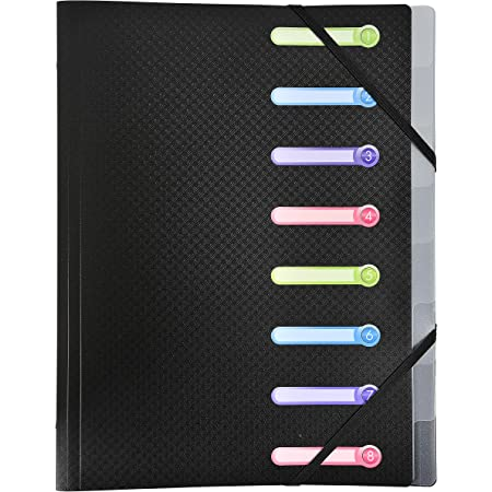 Exacompta - réf. 56181E - Trieur en polypro avec 8 compartiments Opak - fenêtres personnalisables - fermeture par élastique - équipé de 3 rabats - couleur noir