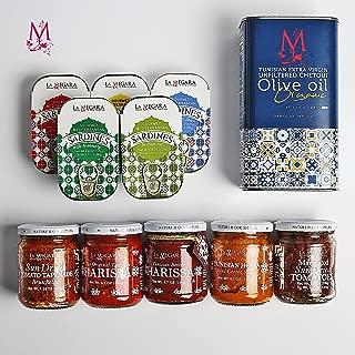 Mediterranean Food Box : Extra Virgin Olive Oil, 2 x Harissa, 5 x Sardines, Horia Salad, Sun Dried Tomato Tapenade & Marinated Sun Dried Tomatoes- Gift Basket 100% Mediterranean