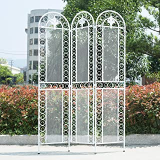 MyGift 3-Panel Vintage White Metal Mesh Garden Trellis Design Room Divider Decorative Outdoor Folding Screen