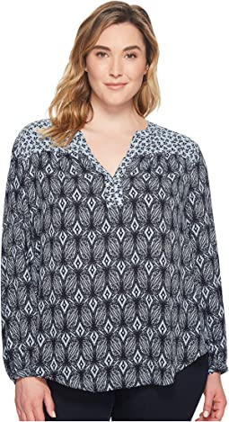 NYDJ Plus Size Plus Size Print Mix Peasant Top