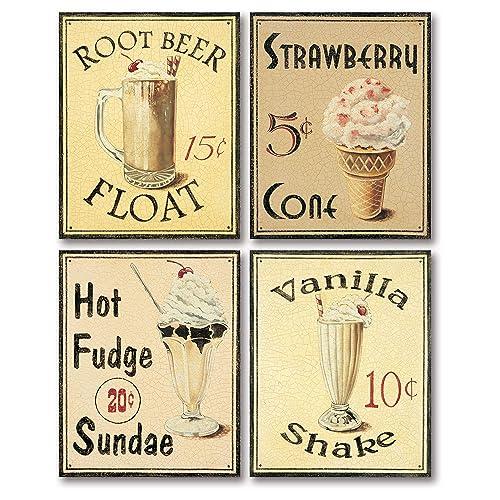 American Vintage Style Diner Sign Cafe Sign Milkshakes Retro Style  Kitchen Sign