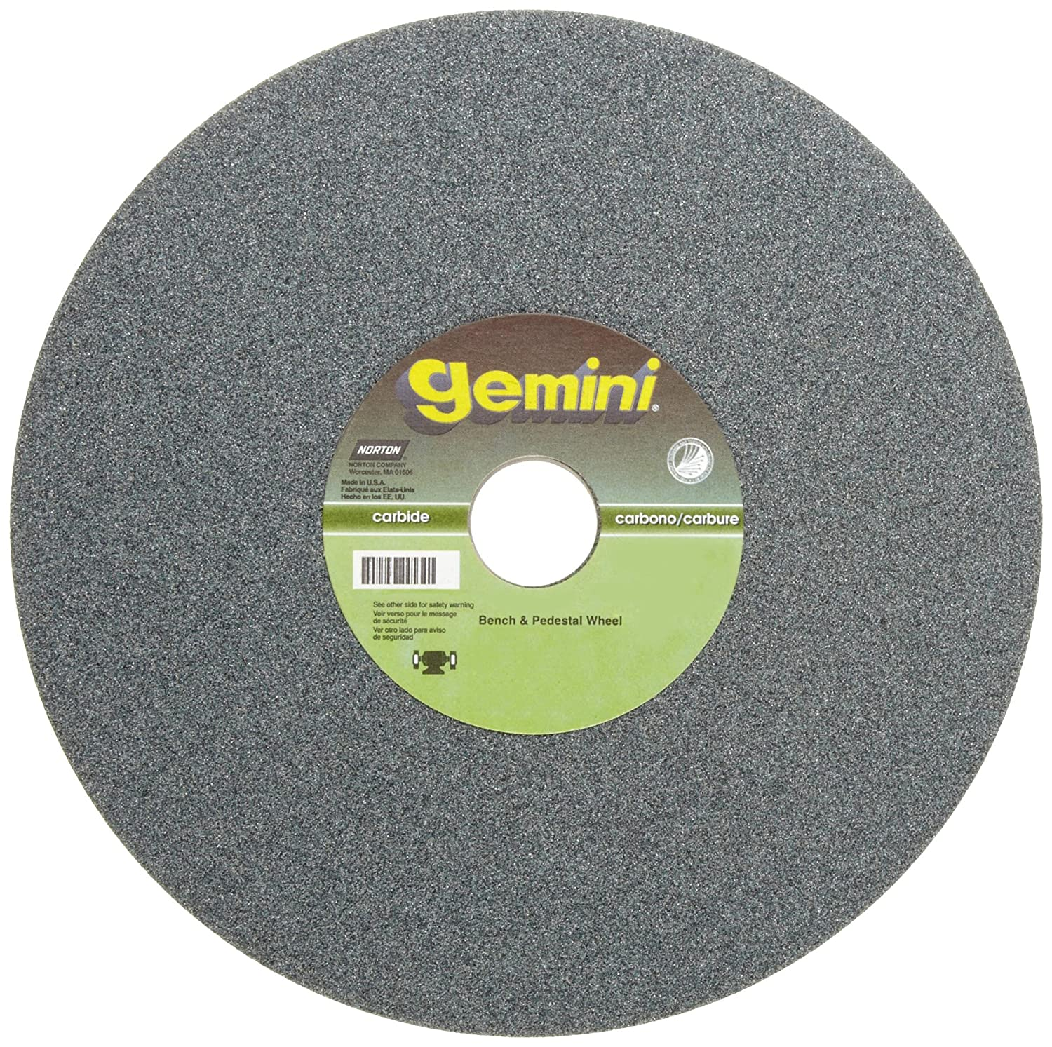 Norton Gemini Bench and Pedestal Abrasive Wheel 1-1//4 Arbor Type 01 Straight Silicon Carbide Pack of 1 80 Grit 10 Diameter 1 Thickness