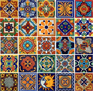Color y Tradicion 100 Mexican Tiles 4x4 Handpainted Hundred Pieces 25 Different Designs