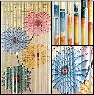 BeadedString Hand Painted Natural Bamboo Wood Beaded Curtain-90 Strands-78 (6.5 ft) High-Boho Door Beads-Bohemian Doorway Curtain-Flowers