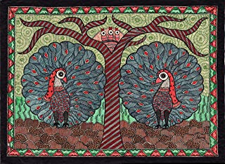 Madhubani Peacock Motif Art Indian Mithila Handmade Miniature Tribal Painting