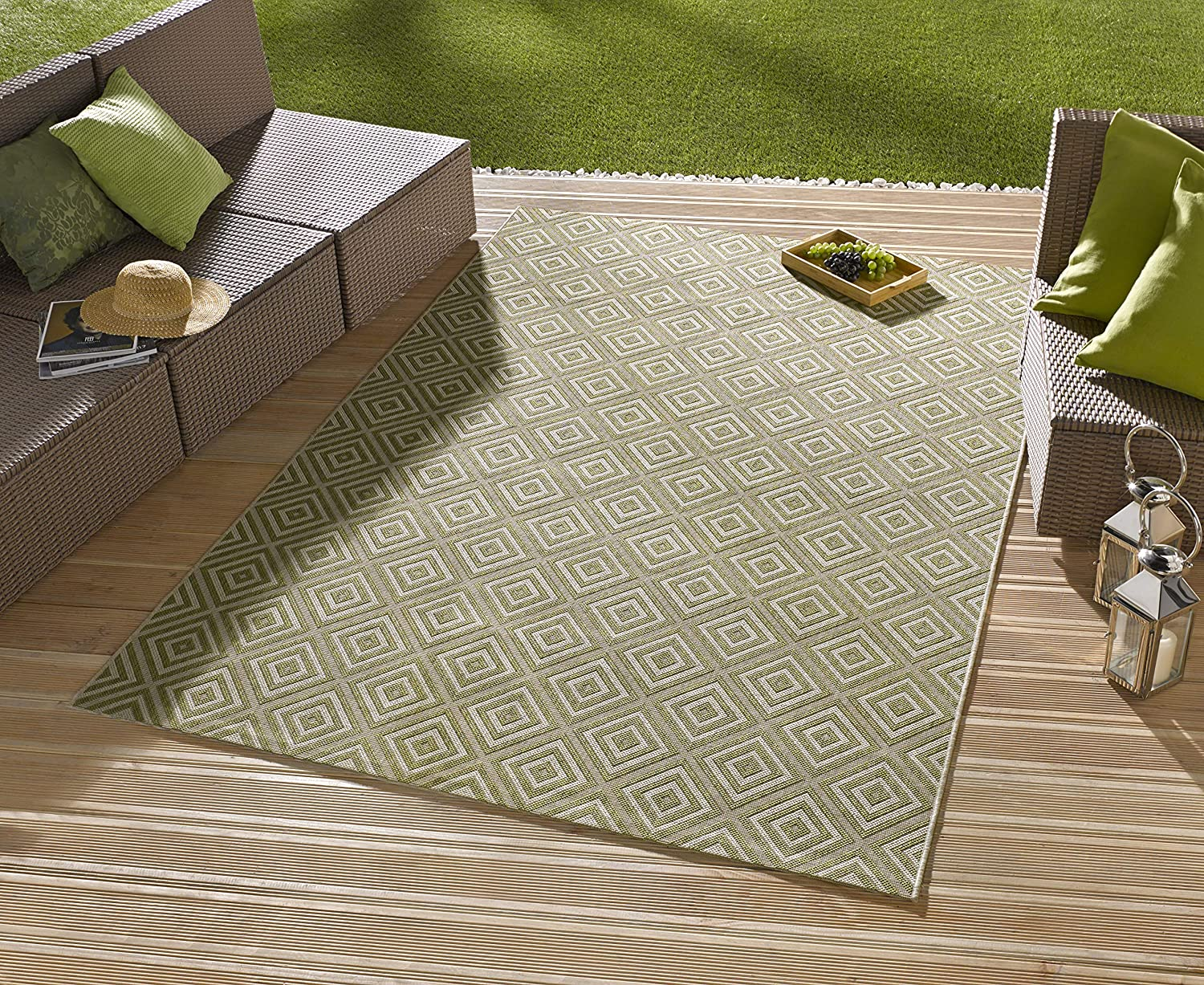 bougari Indoor and Outdoor Rug Checked Black 80 x 150 cm