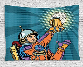 Ambesonne Astronaut Tapestry, Colorful Astronaut Holding Beer Thirsty for Beer Long Voyage Retro Style Drawing, Wide Wall Hanging for Bedroom Living Room Dorm, 60