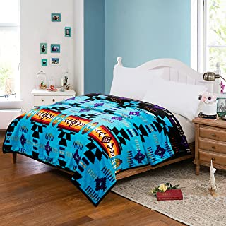 Southwest Design (Navajo Print) King Size Reversible Turquoise Blue / Black