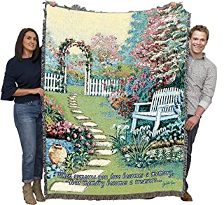 Pure Country Weavers Christian Funeral Gifts, Garden Memory Blanket, Memorial Sympathy Gift & Bereavement Gift for Loss of Mother, Father or Loved One – Healing Thoughts Funeral Blanket (72x54)