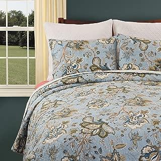 C&F Home Bethany Blue Floral Cotton 3 Piece King Machine Washable Reversible Quilt Set King 3 Piece Set Blue