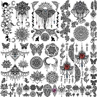 EGMBGM 28 Sheets Tribal حنا خال کوبی موقت برای دختران ، خال کوبی جعلی ضد آب موقت فیل Ganesha Lace Mehndi Hena کیت های خال کوبی ، Lotus Mandala Flower Tatto Sticker برچسب گردن قفسه سینه بازو