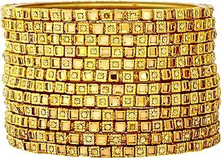 أساور زجاجية هندية للنساء، مجموعة أساور زجاجية ذهبية مكونة من 12 سوار، مجموعة أساور زفاف زجاجية للنساء من جي دي زد كوليكشن.