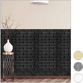 relaxdays Paneles Pared Autoadhesivos, Pack 5 Unidades, Imitación Ladrillo 3D, Espuma de Polietileno, 78x70cm, Negro, 78x70 cm