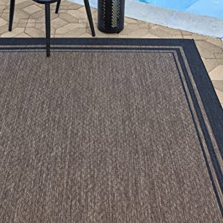 Gertmenian 21359 Outdoor Rug Freedom Collection Bordered Theme Smart Care Deck Patio Carpet, 8x10 Large, Border Black Nut ...