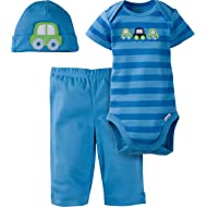 Baby Boys' 3-Piece Bodysuit, Pant and Cap Set