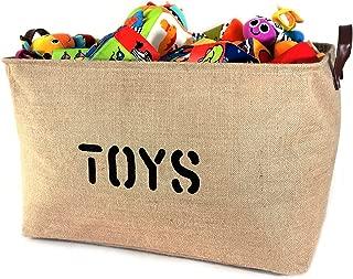 OrganizerLogic Burlap Storage Organizer Basket - Heavy Duty Storage Basket - Perfect Storage Jute Basket for Laundry, Shoes and Kids Toys Storage bin - Storage Baskets Measure 22