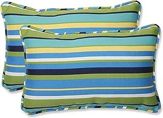 Pillow Perfect Outdoor Topanga Stripe Lagoon Rectangular Throw Pillow, Set of 2