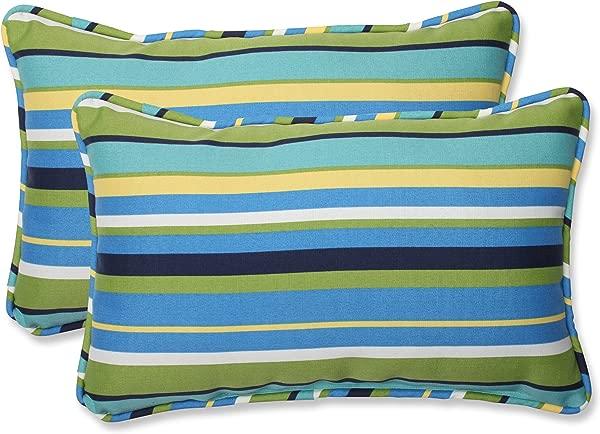 枕头完美户外 Topanga 条纹泻湖长方形抱枕 2 件套