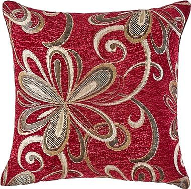 """Violet Linen Chenille Chateau Vintage Floral Design Decorative Throw Pillow, 18"""" x 18"""", Burgundy"""