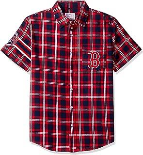 FOCO KLEW MLB Boston Red Sox Wordmark Flannel Short Sleeve Button-Up Shirt