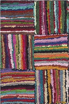 Tapis accentuation d'intérieur de transition tufté à la main, collection Nantucket, NAN318, en multicolore, 61 X 91 cm pour le salon, la chambre ou tout autre espace intérieur par SAFAVIEH.