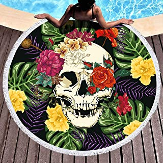 Bonsai Tree Skull Round Beach Towel, Rainforest Tropical Floral Oversized Beach Blanket with Tassels,