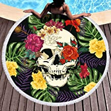 Bonsai Tree Skull Round Beach Towel, Rainforest Tropical Floral Oversized Beach Blanket with Tassels, Picnic Mat Beach Gifts for Women 59