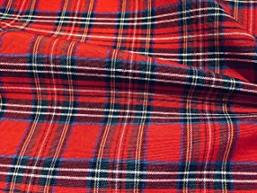 LUSHFABRIC Tartan Plaid Check Designer Fabric Curtain Upholstery Cotton Material - Scottish Royal Stewart Red Checks Canvas (Sample 10cm x 10cm)