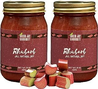 Green Jay Gourmet Rhubarb Jam - All-Natural Fruit Jam with Rhubarb & Lemon Juice - Vegan, Gluten-free Jam - Contains No Preservatives or Corn Syrup - Made in USA - 2 x 20 Ounces