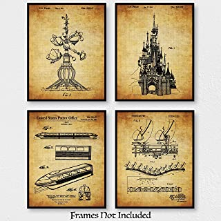 Original Disney Rides Patent Art Poster Prints - Set Of 4 (Four) Photos - 8x10 Unframed - Wall Decor For Home, Office, Play Room, Nursery - Great Gift For Disney Fans