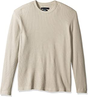 French Connection Mens 56LBQ Men's Long Sleeve Waffle Jersey Crew Long Sleeve Shirt
