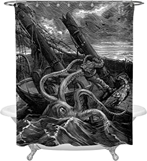 MitoVilla Antique Giant Octopus Shower Decorations, Hand Drawn Sea Monster Kraken Catched Ancient Sailboat Art Deco Shower Curtain for Marine Decor, Waterproof Fabric 72 W x 78 L inches, Black White