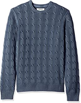 Brand Goodthreads Mens Soft Cotton Cable Stitch Crewneck Long Sleeve Sweatshirt