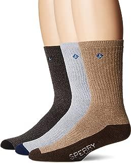 Men's Crew Socks, black marl assorted, Shoe Size: 6-12