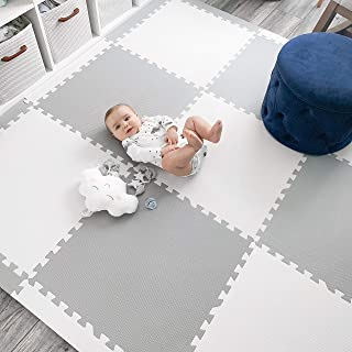 "Baby Play Mat Tiles Extra Large Thick Foam Floor Puzzle Mat Interlocking Playmat for Infants Toddlers Kids Babies Crawling Tummy Time Grey/White 74"" x 74"""