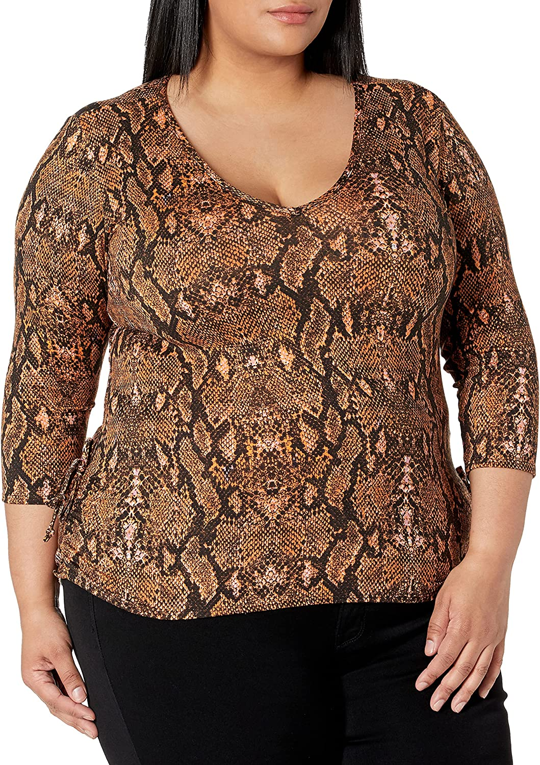 Star Vixen Women's 3/4 Sleeve V Neck Top with Ruched Side Detail