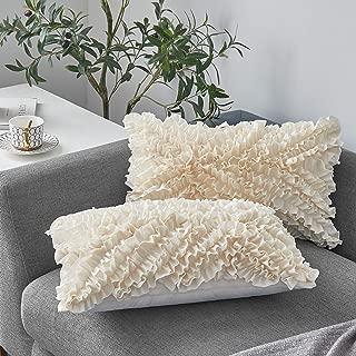 MoMA Decorative Throw Pillow Covers (Set of 2) - Pillow Cover Cushion Cover - Off White Cream Throw Pillow Cover - Decorative Sofa Throw Pillow Cover - Square Decorative Pillowcase - Cream - 12