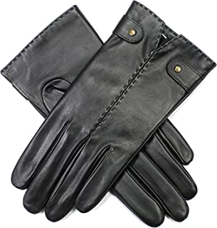 Dents Women's Leather Gloves With Handsewn Detail And Antique Gold Studs