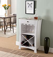 Kings Brand Hiland Bar Cabinet Wine Storage With Glass Holders & Drawer, White, White