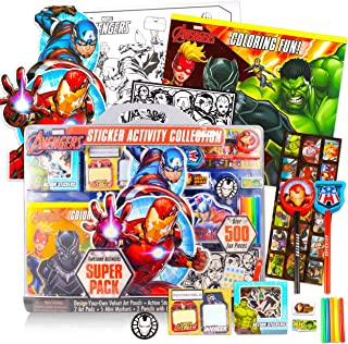 Marvel Avengers Stamp Set for Kids - Ultimate Superhero Arts and Crafts Bundle with Activity Book, Wooden Stampers, Pads, ...