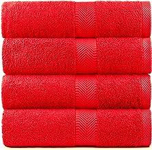 BY LORA Oversized katoenen badhanddoeken, rood, set van 4 stuks