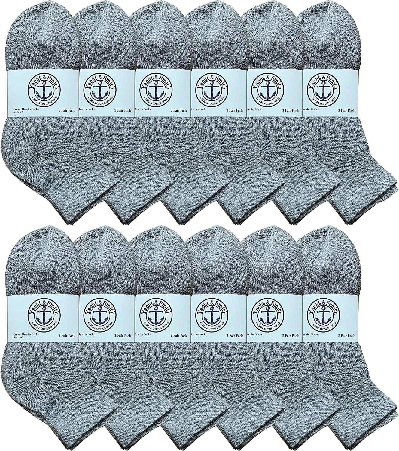 Yacht & Smith 12 Pairs Of Cotton Mid Size Ankle Socks Boys And Girls Bulk Value Pack Socks