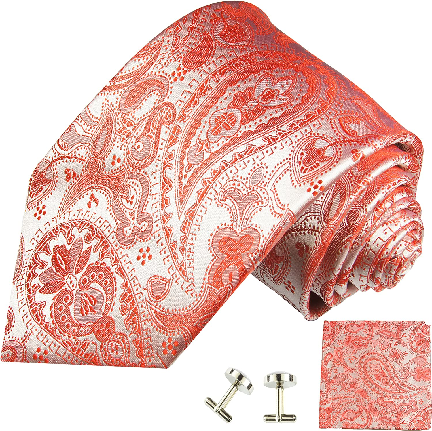 Red Paisley Silk Tie with Pocket Square and Cufflinks