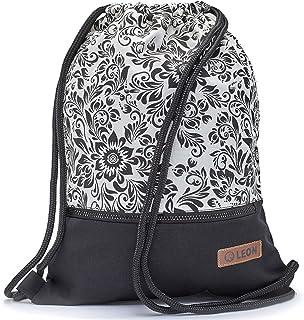 By Bers LEON Turnbeutel mit Innentaschen in Schwarz-Weiß Rucksack Tasche Damen Herren & Teenager Gym Bag Draw String Flower_SW