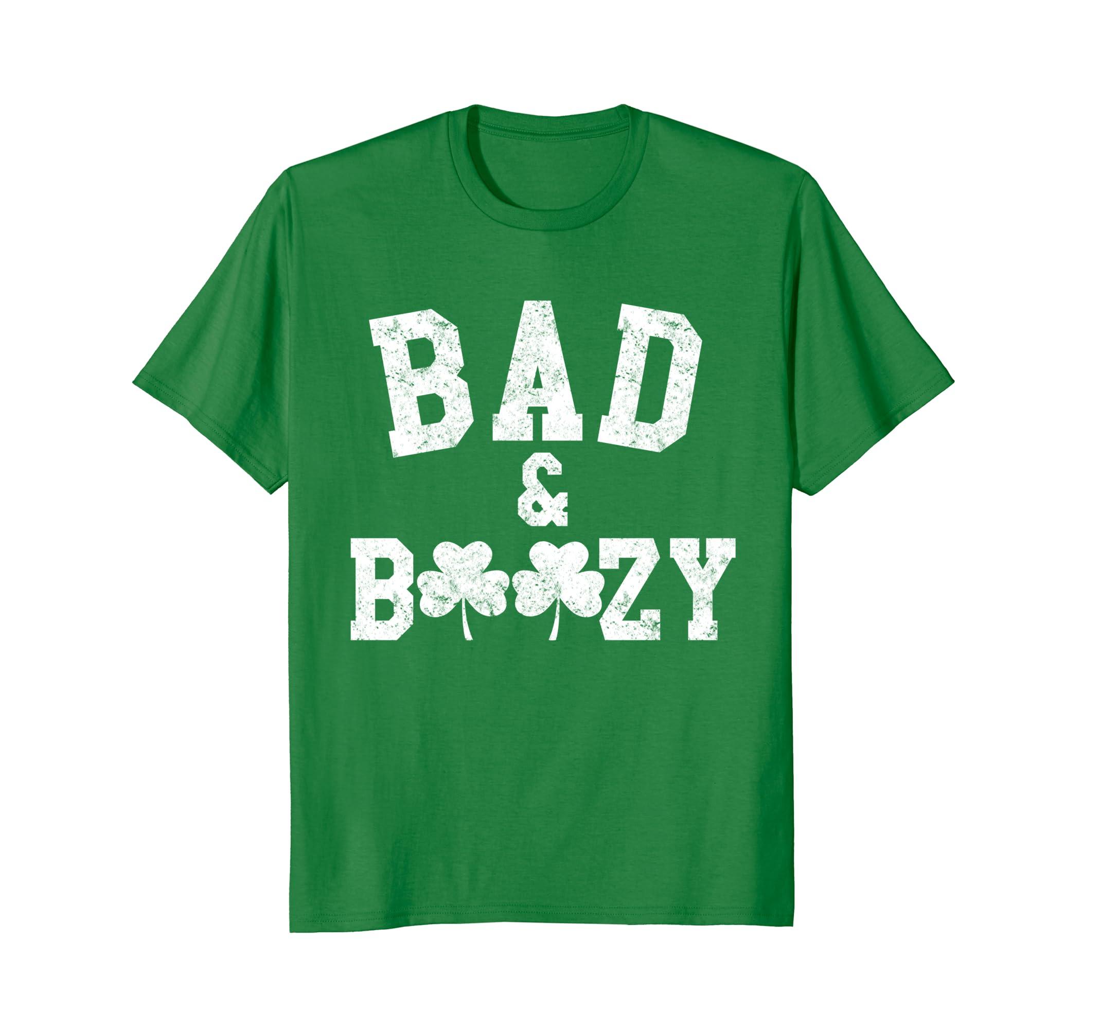 Bad & Boozy Saint Patricks Day Drinking T-Shirt-TH