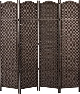 MyGift Freestanding Bamboo Woven Textured 4-Panel Partition Room Divider Folding Privacy Screen, Dark Brown